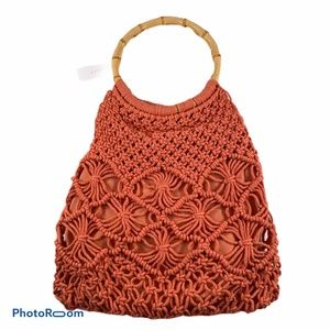 Topshop Crochet Purse With Bamboo Handles